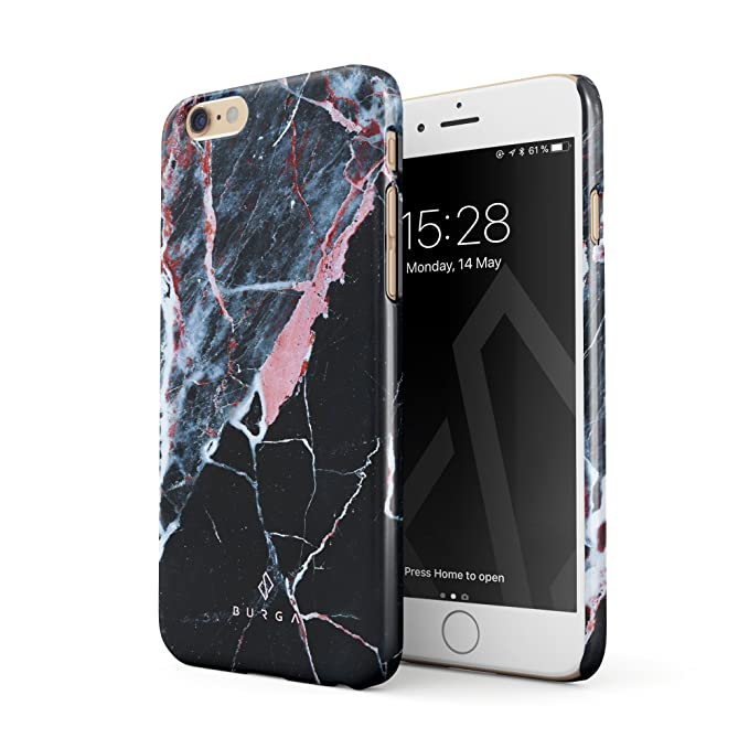 BURGA Hülle Kompatibel mit iPhone 6, iPhone 6s Handy Huelle Rosa Pink Koralle Schwarz Marmor Muster Black Marble Dünn, Robust