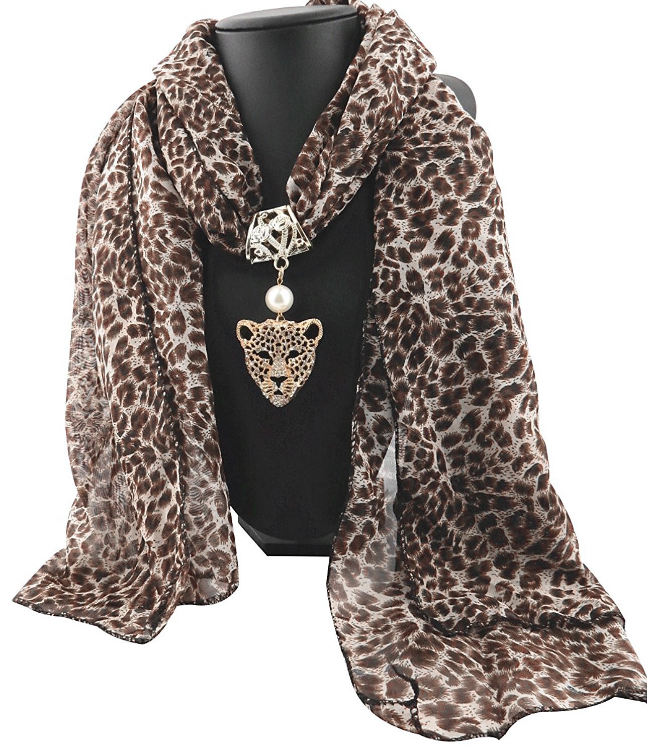 Leopard Print Long Scarf with Pendant Jewelry Charm, Leopard, One Size
