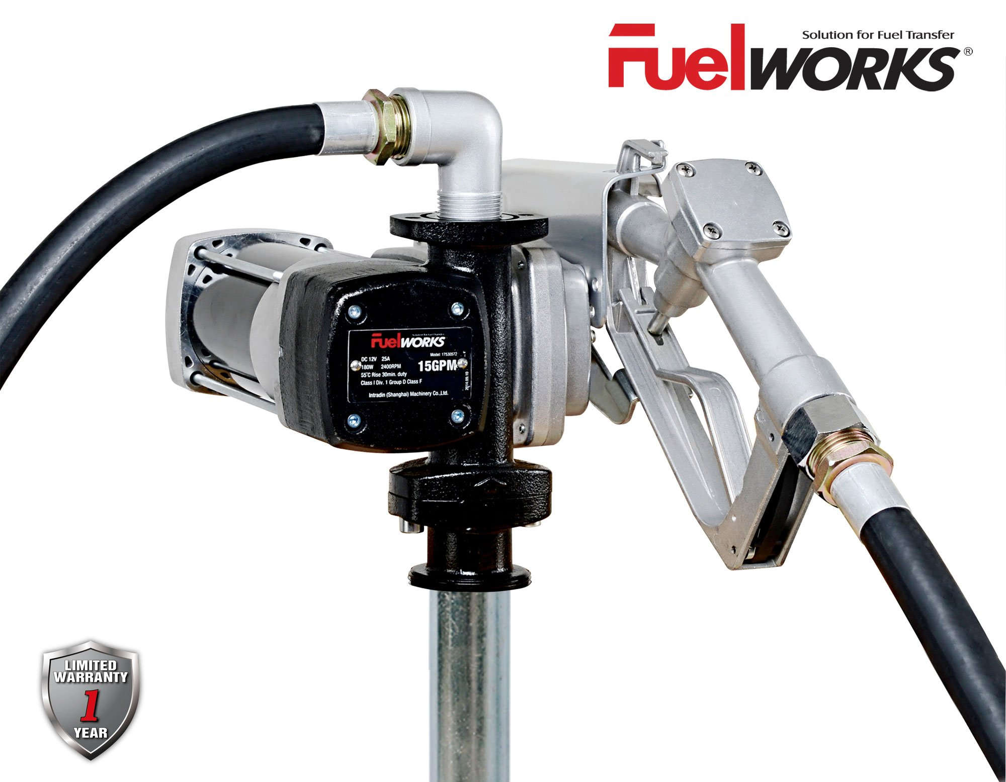 Fuelworks 10305708A 12V 15GPM Fuel Transfer Pump Kit with 14' Hose, Extensible Suction Tube and Manual Nozzle, Black by Fuelworks (Image #1)