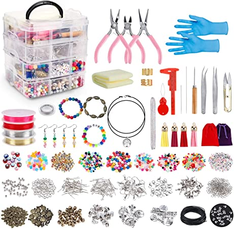 Jewelry Making Kits Jewelry Findings Starter Kit Jewelry Beading Making and Repair Tools Kit with Accessories