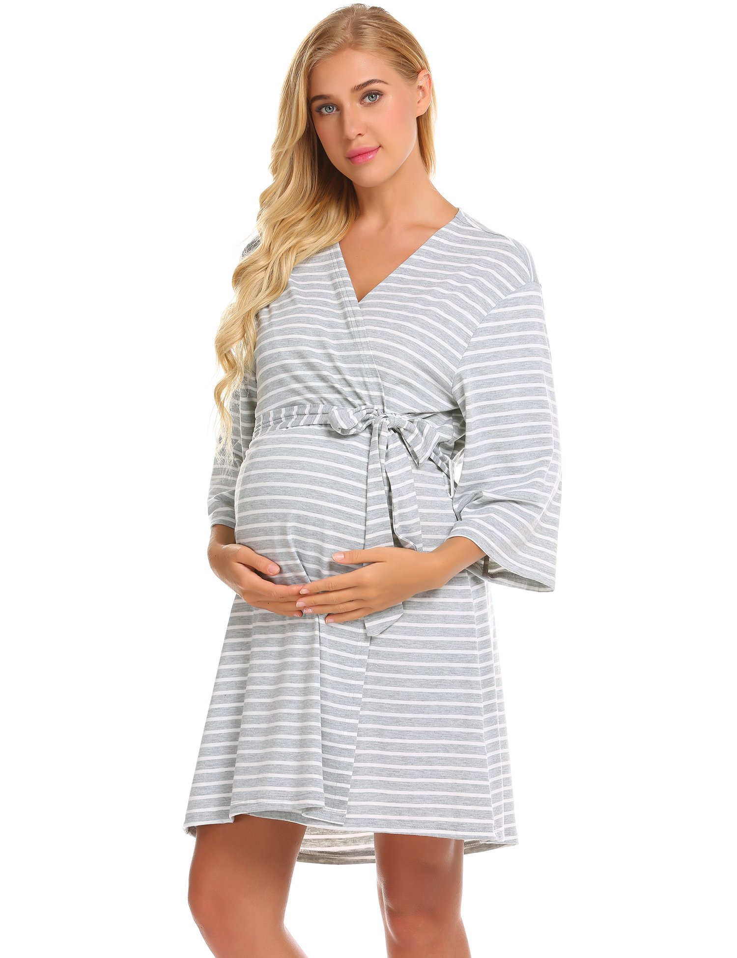 Ekouaer Womens Maternity Pregnancy Labor Robe Delivery Nursing Nightgowns Hospital Breastfeeding Gown ,Grey ,Large