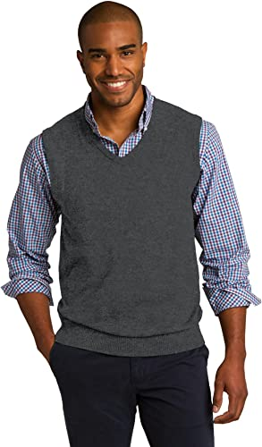 Port Authority Men's Rib Knit V Neck Sweater Vest