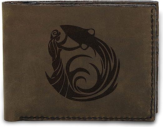 Mens Rock Style Skulls Handmade Natural Genuine Leather Trifold Wallet MHLT/_05