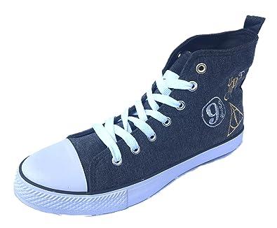 Official HARRY POTTER Ladies Blue Canvas Pumps Trainers Shoes NEW