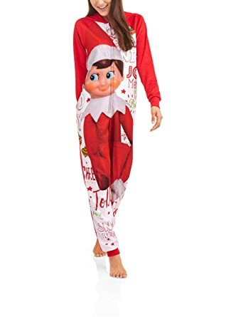 f92491efd7 Amazon.com  CCA and B Elf on The Shelf Women s Sleepwear Adult One Piece  Costume Union Suit Pajamas  Clothing