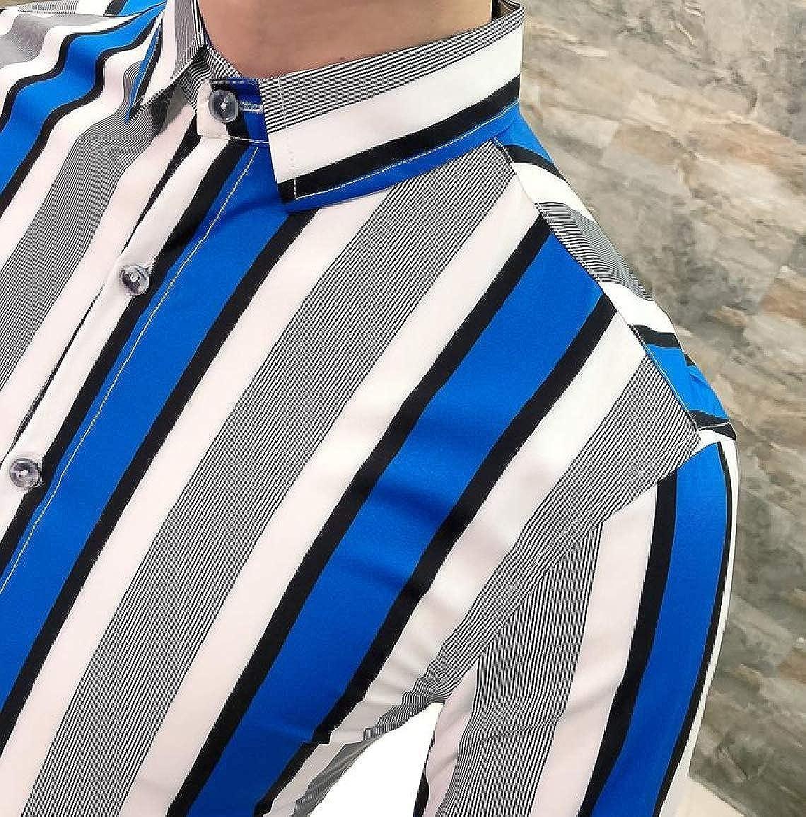 Sayah Mens Stripes Printed Long Sleeve Evening Club Peaked Collar Silm Fit Dress Shirt