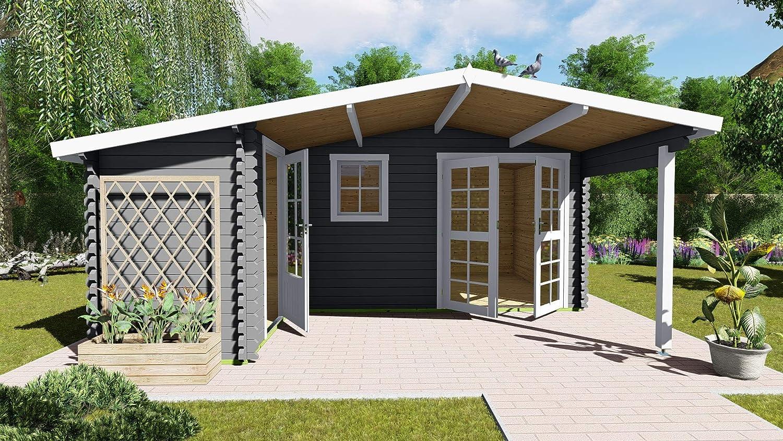 AL Wood Ltd - Cabaña de Madera para jardín, Oficina, Forma de L, 5, 1 m x 4, 8 m, 40 mm: Amazon.es: Jardín