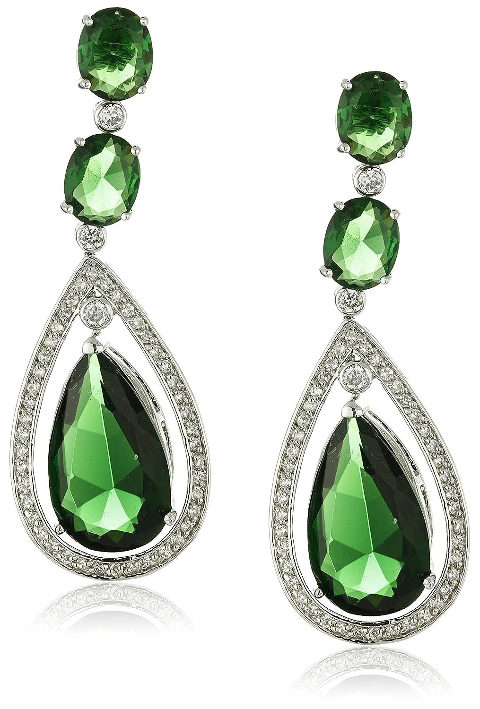 1d4ea75b91bd9 Large Green Teardrop Chandelier Earring Pear Shape Cubic Zirconia Simulated  Emerald CZ Rhodium Plated Brass 2.5in
