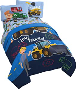 Jay Franco Blippi Machine Fun 4 Piece Twin Bed Set - Includes Comforter & Sheet Set Bedding Features - Super Soft Fade Resistant Microfiber (Official Blippi Product)