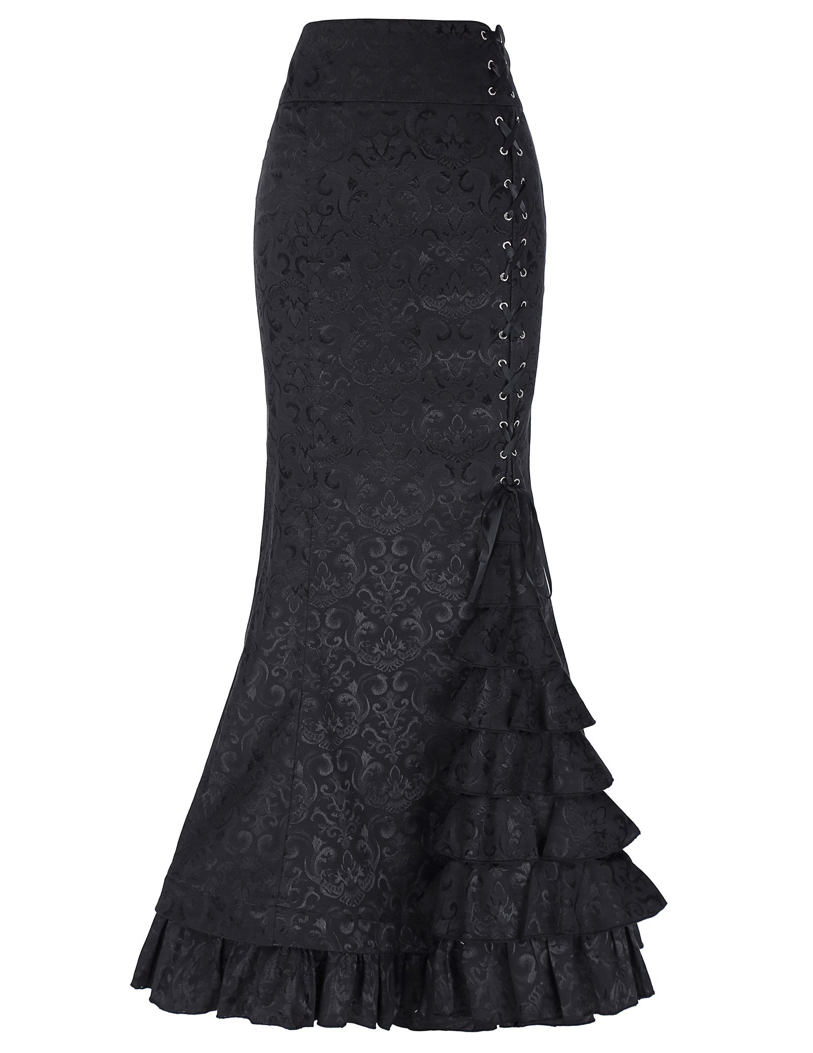 Belle Poque London- Victorian Gothic Ruffle Steampunk Vintage Fishtail Skirt 3