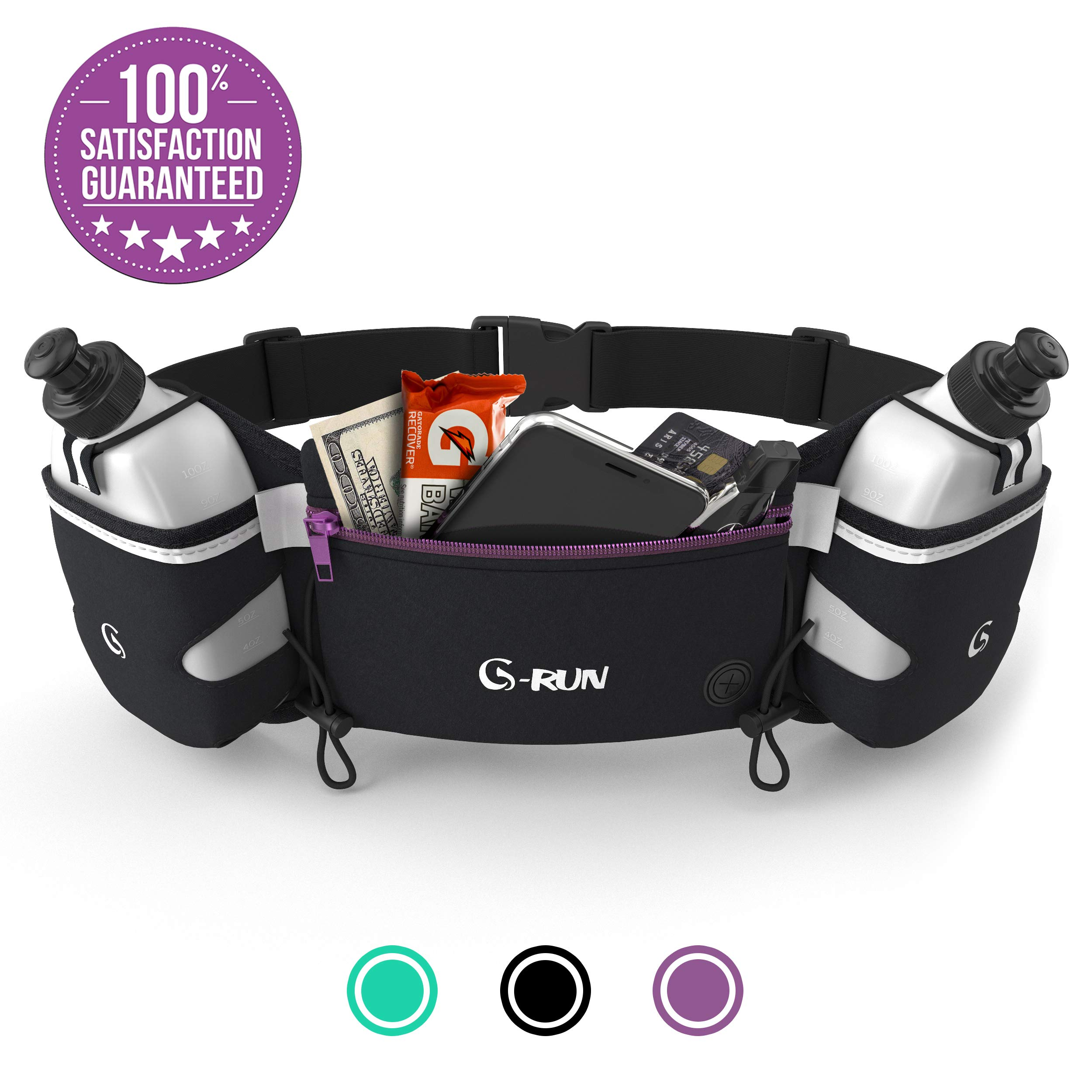 Hydration Running Belt With Bottles - Water Belts For Woman And Men - IPhone Belt For Any Phone Size - Fuel Marathon Race Pack For Runners - Jogging Waist Pouch    by G-RUN