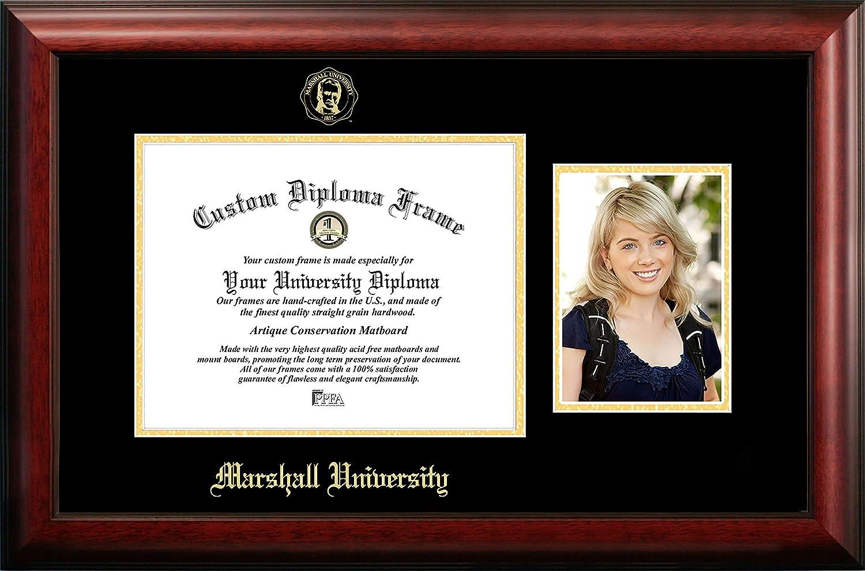 NCAA Marshall Thundering Herd Unisex Marshall University 11 x 8.5 Inches Gold Embossed Diploma Frame with 5 x 7 Inches Portrait Gold Embossed Diploma Frame with 5 x 7 Inches Portrait Brown One Size