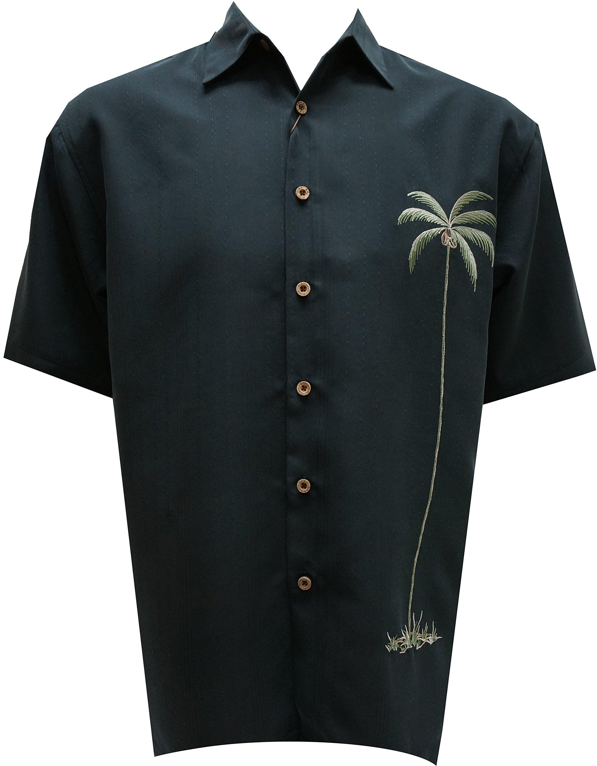 Bamboo Cay Mens Single Palm, Embroidered Short Sleeve Hawaiian Shirt (3XL, Black)