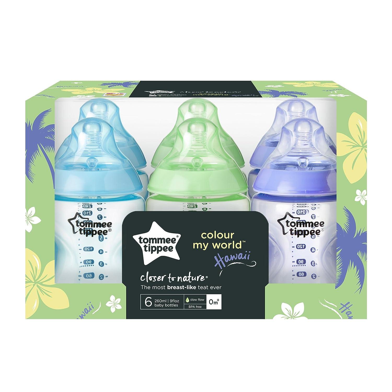 260 ml Kit de 6 biberones de pl/ástico Tommee Tippee color azul 422414