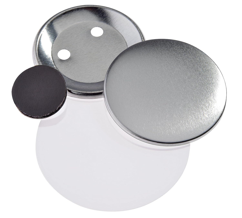 Buttonrohlinge 59mm f/ür Badgematic Buttonmaschine mit Fl/ächen-Magnet 100 St/ück
