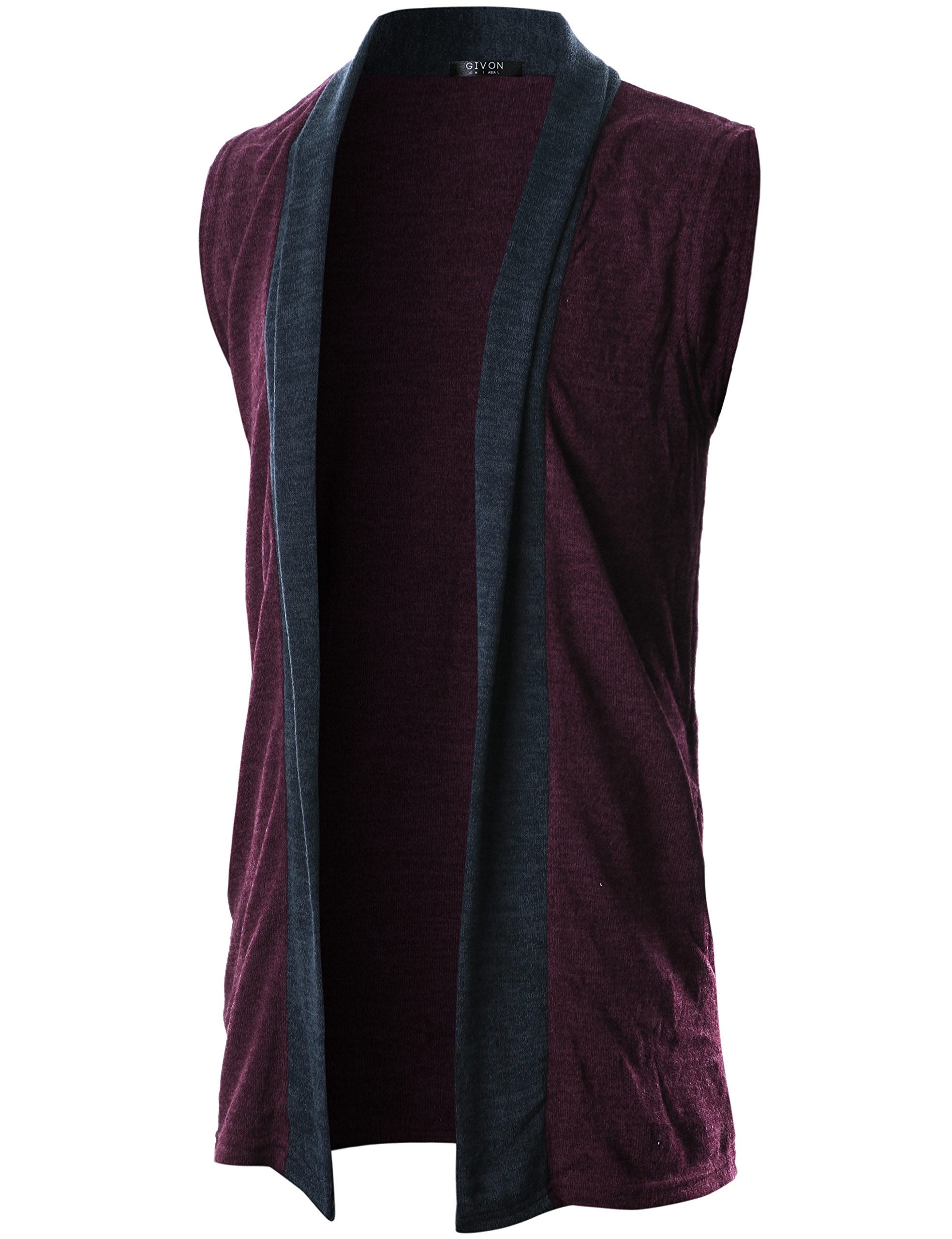 GIVON Mens Sleeveless Draped Open Front Shawl Collar Knitted Long Vest/DCC041-PURPLE-XXL