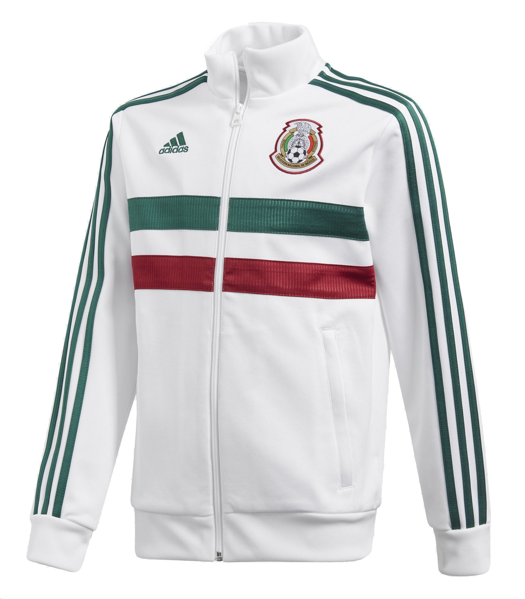 adidas World Cup Soccer Mexico Youth Boys Kids Soccer 3 Stripes Mexico Track Top, Large, White