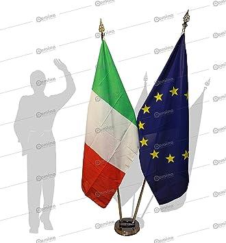 Kit Bandera de sala 3 plazas de acero inoxidable completo de la bandera italiana, europeo