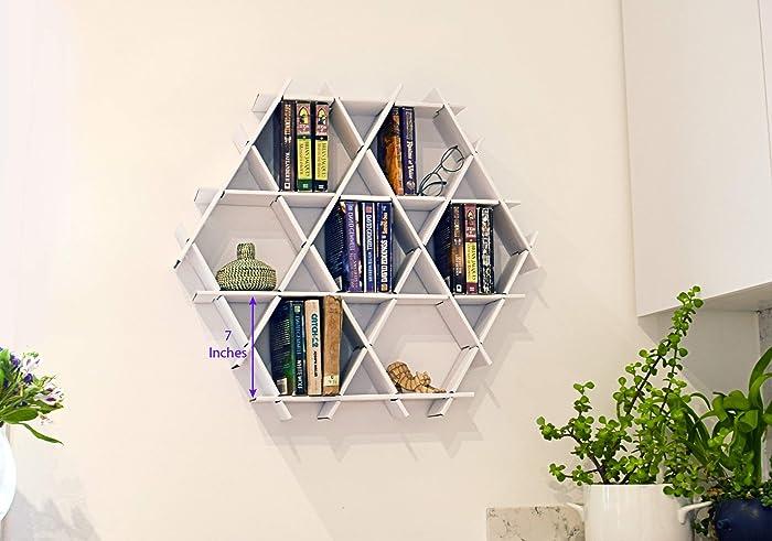 Amazon.com: Hanging Bookshelf, Hexagon Floating Shelves ...