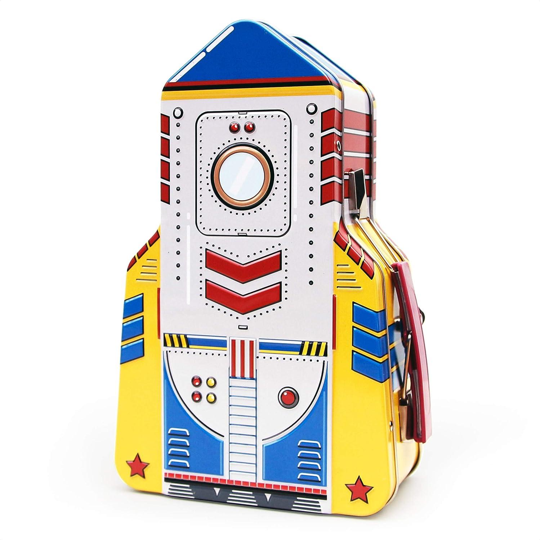 Recipientes de almacenamiento de juguetes para niños y adultos de SUCK UK Rocket | Cajas de almuerzo espaciales para niños y adultos | Lata, metal, multicolor, talla única