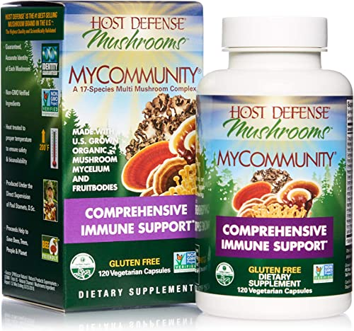 Host Defense, MyCommunity Capsules, Advanced Immune Support, Mushroom Supplement with Lion's Mane, Reishi, Vegan, Organic, 120 Capsules 60 Servings