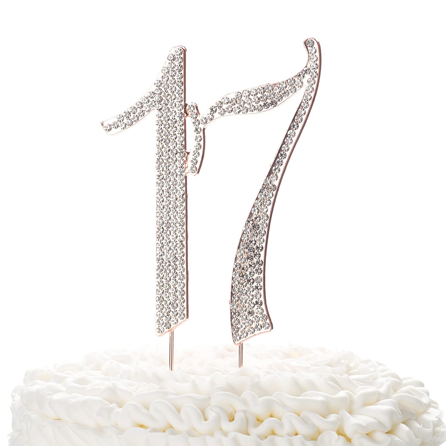 Ella Celebration 17 Cake Topper For 17th Birthday Rhinestone Number Decoration Party Supplies Rose Gold Amazon Grocery Gourmet Food