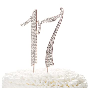 Ella Celebration 17 Cake Topper For 17th Birthday Rhinestone Number Decoration Party Supplies Rose