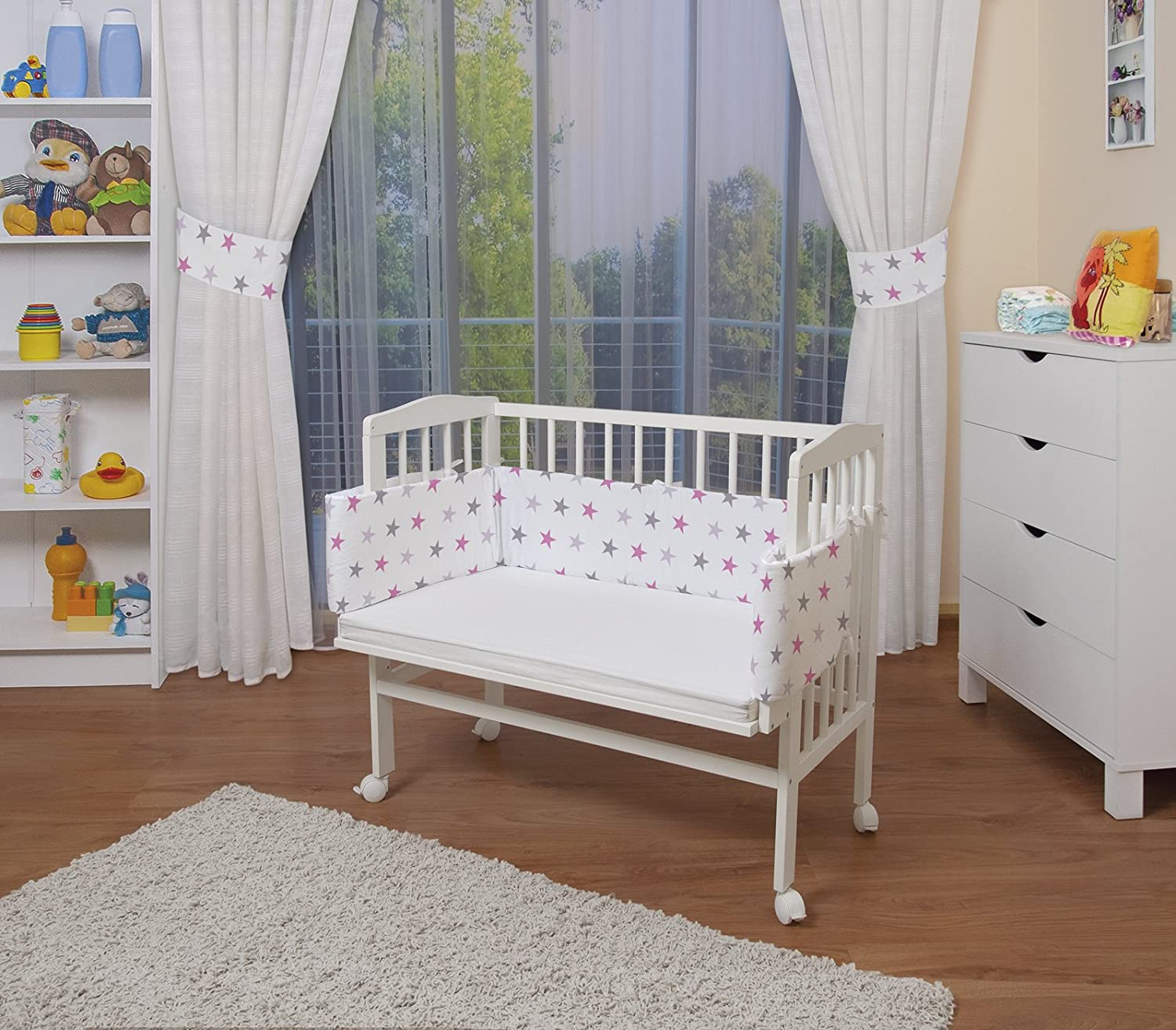 WALDIN Baby Bedside Cot Co-Sleeping height adjustable with bumper,16 models available, untreated,textile colour white