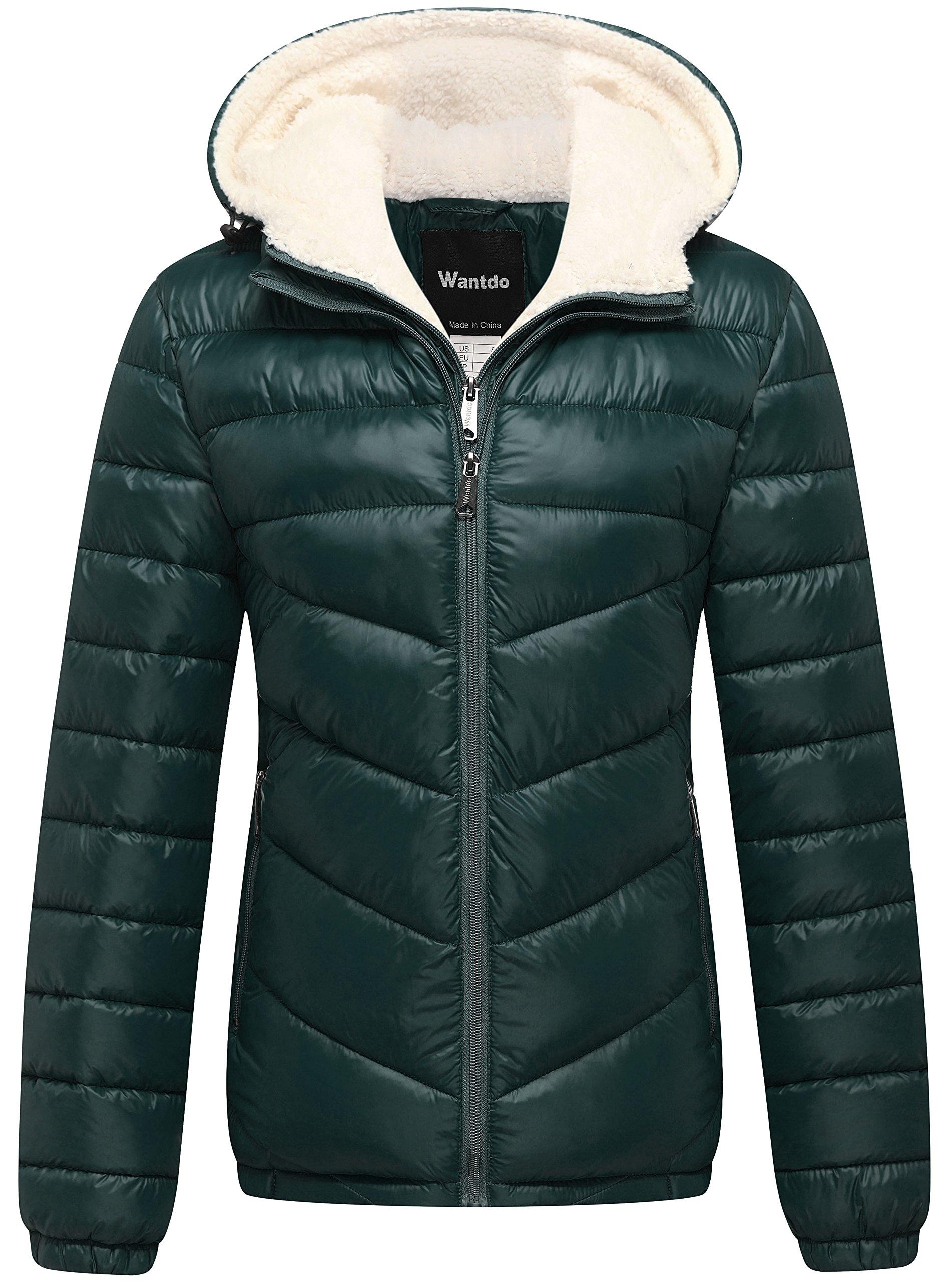 Wantdo Women's Winter Hooded Thick Puffer Jacket US Medium Green