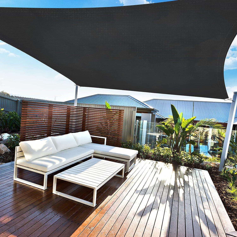 Amazmic Sun Shade Sail Rectangle 8'x10' UV Block Waterproof Canopy Outdoor Activities Patio/Garden/Backyard/Swimming Pools/Carports, Black