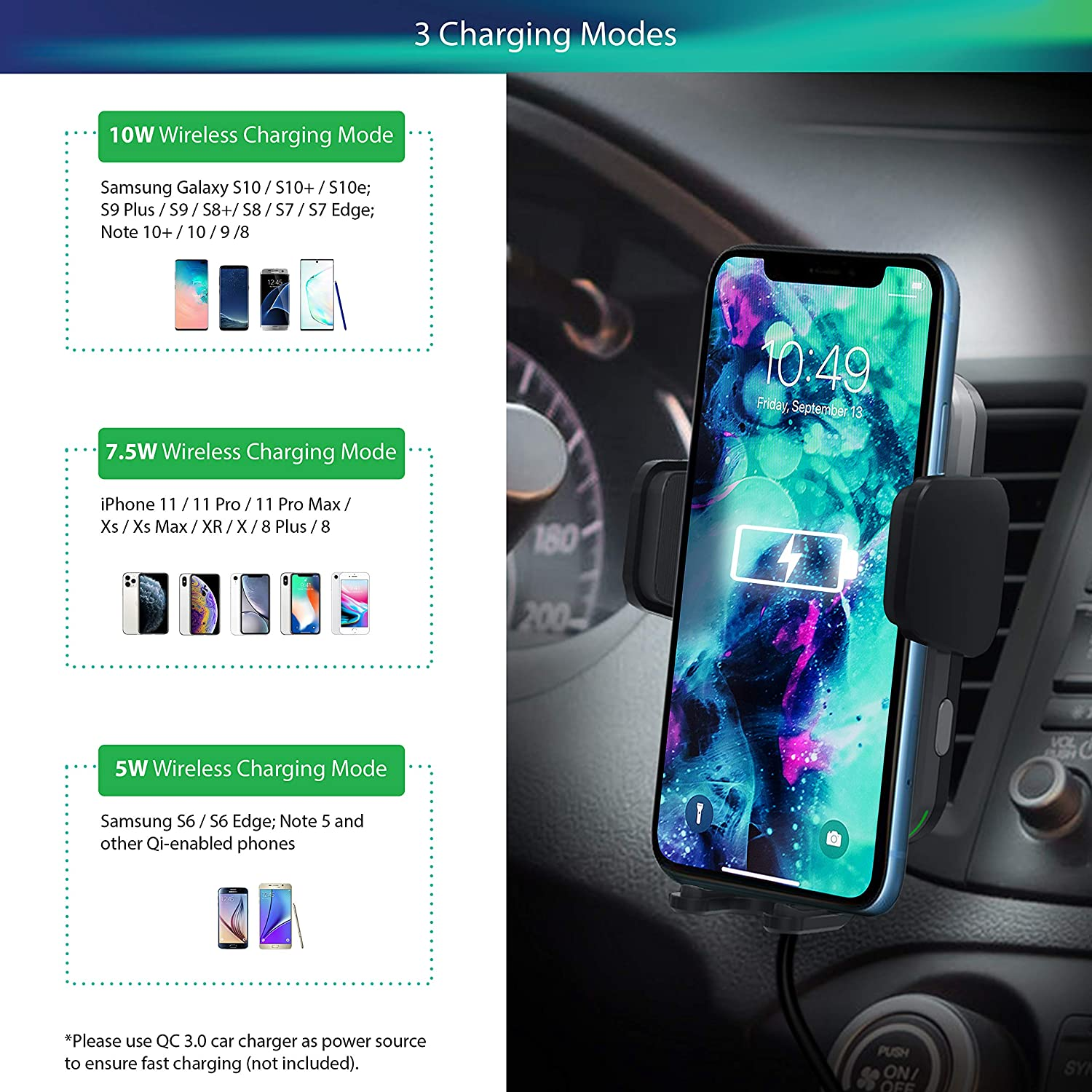DORENITA Wireless Car Charger Mount 10W Qi Fast Charging Auto-Clamping Car Mount Air Vent Phone Holder Compatible:iPhone 11//11 Pro//11 Pro Max//X//XS Max//Xs//XR//8//8+,Samsung Galaxy S10//S10+//S9//S9+//S8//S8+