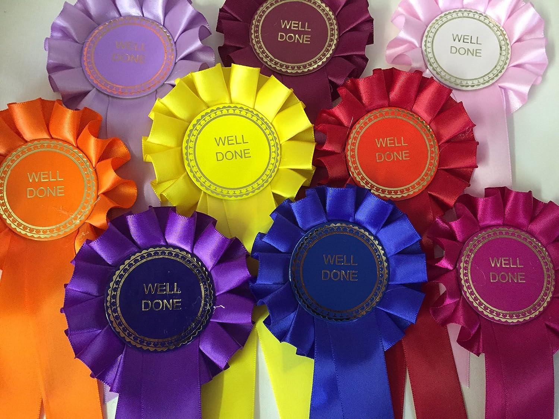 Rosettes Lot de 10 cocardes de f/élicitations en anglais inscription /«/Well Done//»