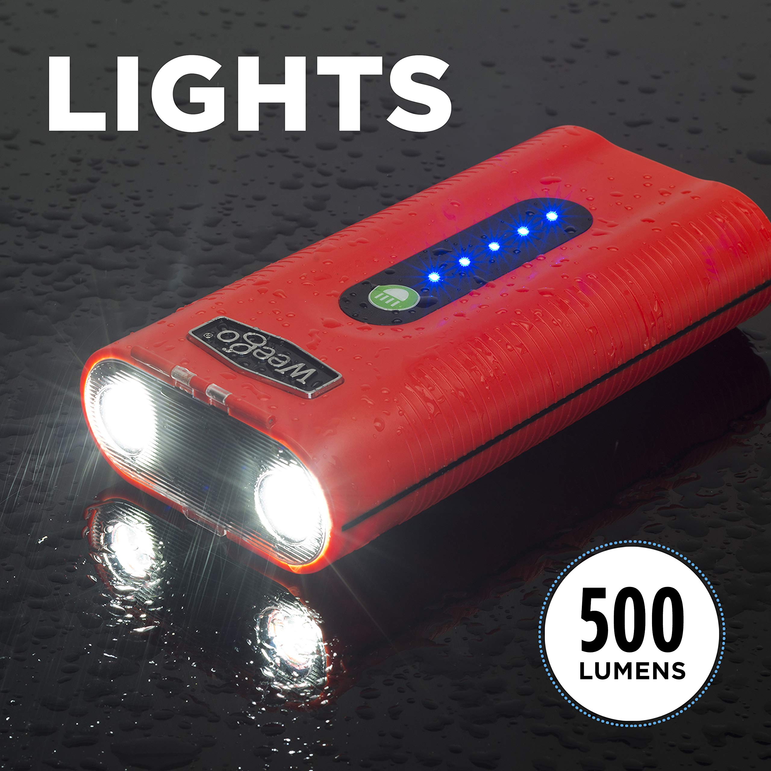 WEEGO 66.1 Jump Starting Power Pack (NEW 2019 Model) 2500 Peak 600 Cranking Amps High Performance Lithium Ion Jump Starter Quick Charges Phones 600 Lumen LED Flashlight Water Resistant by Weego (Image #5)