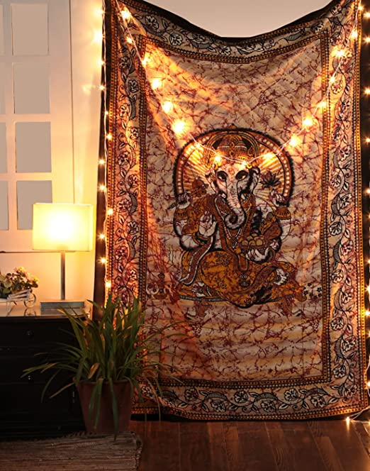 Tapiz Religioso Hindu Senor Ganesha Tapestry - Pared Colgando India Home Tapices Decorativos Espiritual Dormitorio Decoración de la Habitación - ...