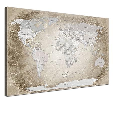 Lanakk world map beige english canvas map of the world print lanakk world map beige english canvas map of the world print gumiabroncs Image collections