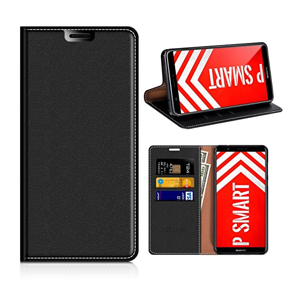 the latest ae44d 2a145 Huawei P SMART Wallet Case, Mobesv Huawei P SMART Leather Case/Phone Flip  Book Cover/Viewing Stand/Card Holder for Huawei P SMART, Black