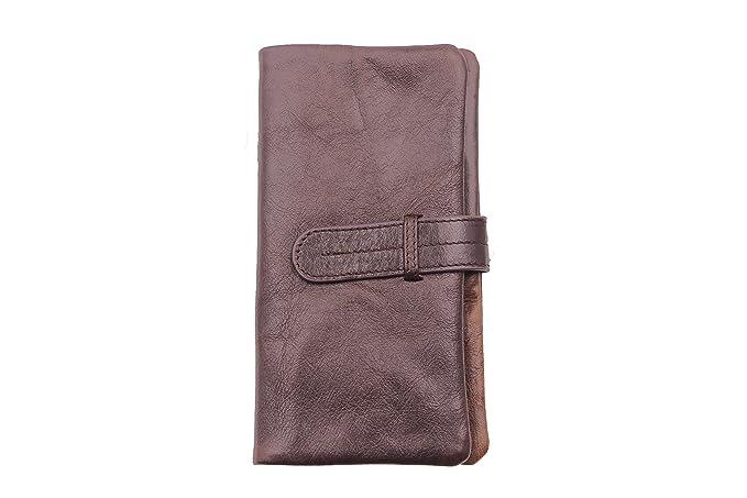 57130e4f53 Kronen Soehne in vera pelle cerniera lunga bifold portafoglio per uomo con  finestra di identificazione portamonete marrone KWA002: Amazon.it:  Abbigliamento