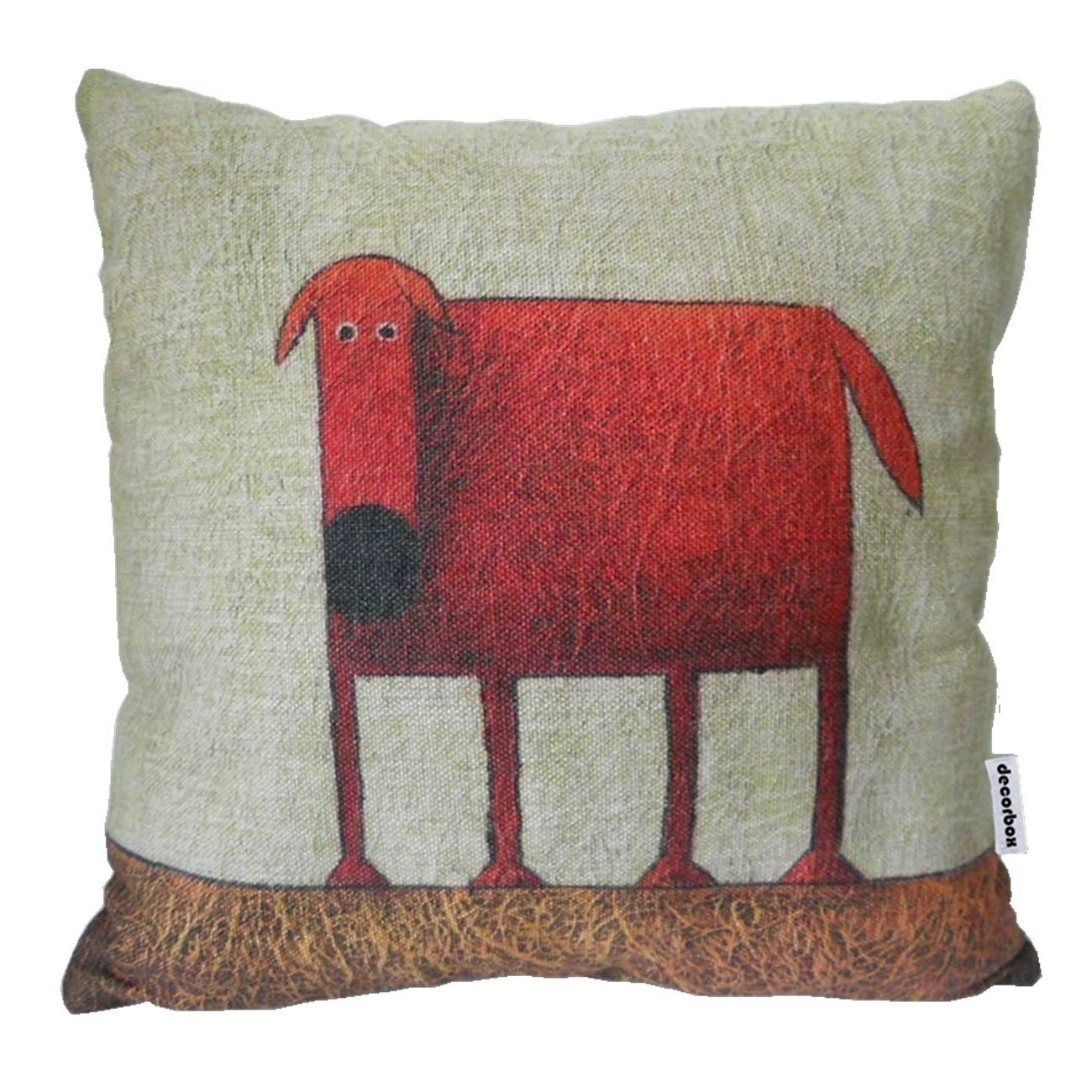 Cotton Linen Square Decorative Throw Pillow Case Cushion Cover Green Background Red Dog 18