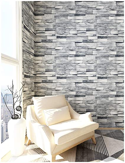 Haokhome 454003 3d Grey Brick Wallpaper Faux Stone Wallpaper Roll 20 8 X 393 7 Room Wall Decoration