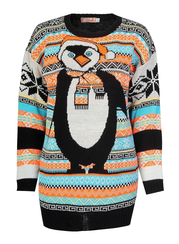 Womens Aztec Penguin Print Neon Colourful Christmas Jumper (S/M ...