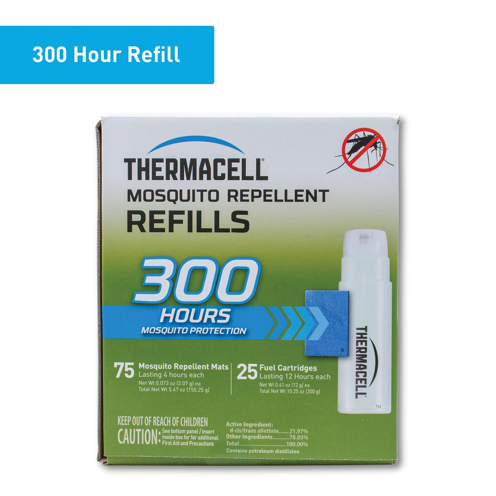 Thermacell Mosquito Repellent Refills, 300-Hr Pack; Contains 75 Repellent Mats, 25 Fuel Cartridges; Compatible with Any Fuel-Powered Product; No Spray, Scent, Mess; 15 Ft Zone of Protection