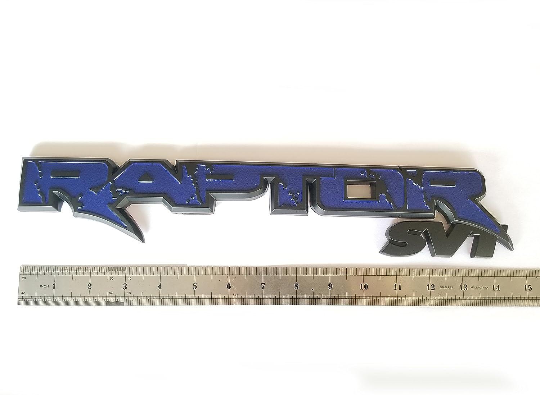 1x OEM 15inch RAPTOR SVT Tailgate EMBLEM BADGE 09-14 Replacement for F150 Origianl size Black Blue Sanucaraofo