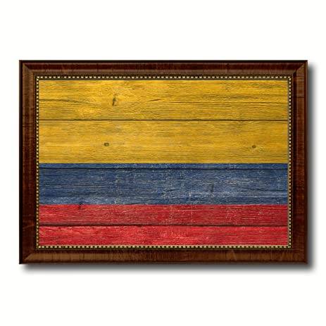 Amazon.com: Colombia National Country Texture Flag Canvas Print ...