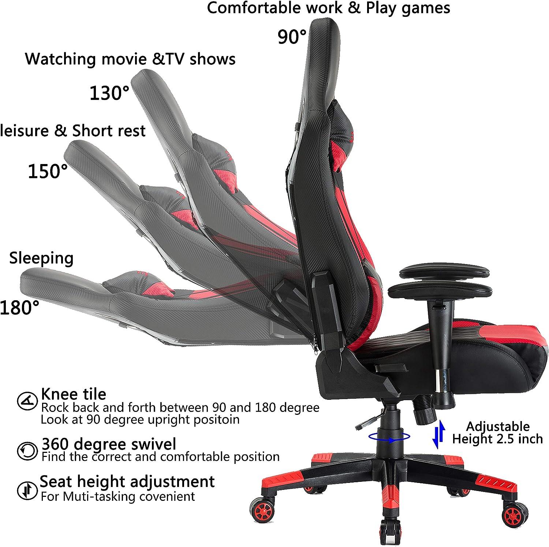 EDWELL Chaise de Jeu vid/éo Chaise de Bureau r/églable en Cuir PU Chaise avec Repose-t/ête et accoudoir,Rouge
