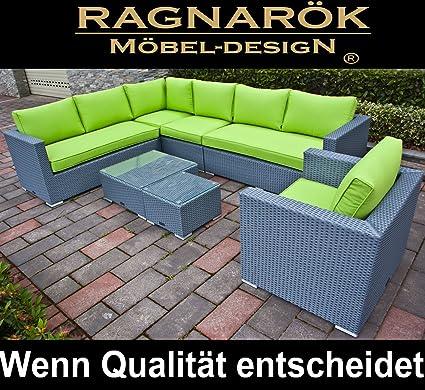 Ragnarök-Möbeldesign PolyRattan Lounge DEUTSCHE Marke - EIGNENE Produktion - 8 Jahre GARANTIE Garten Möbel incl. Glas und Pol