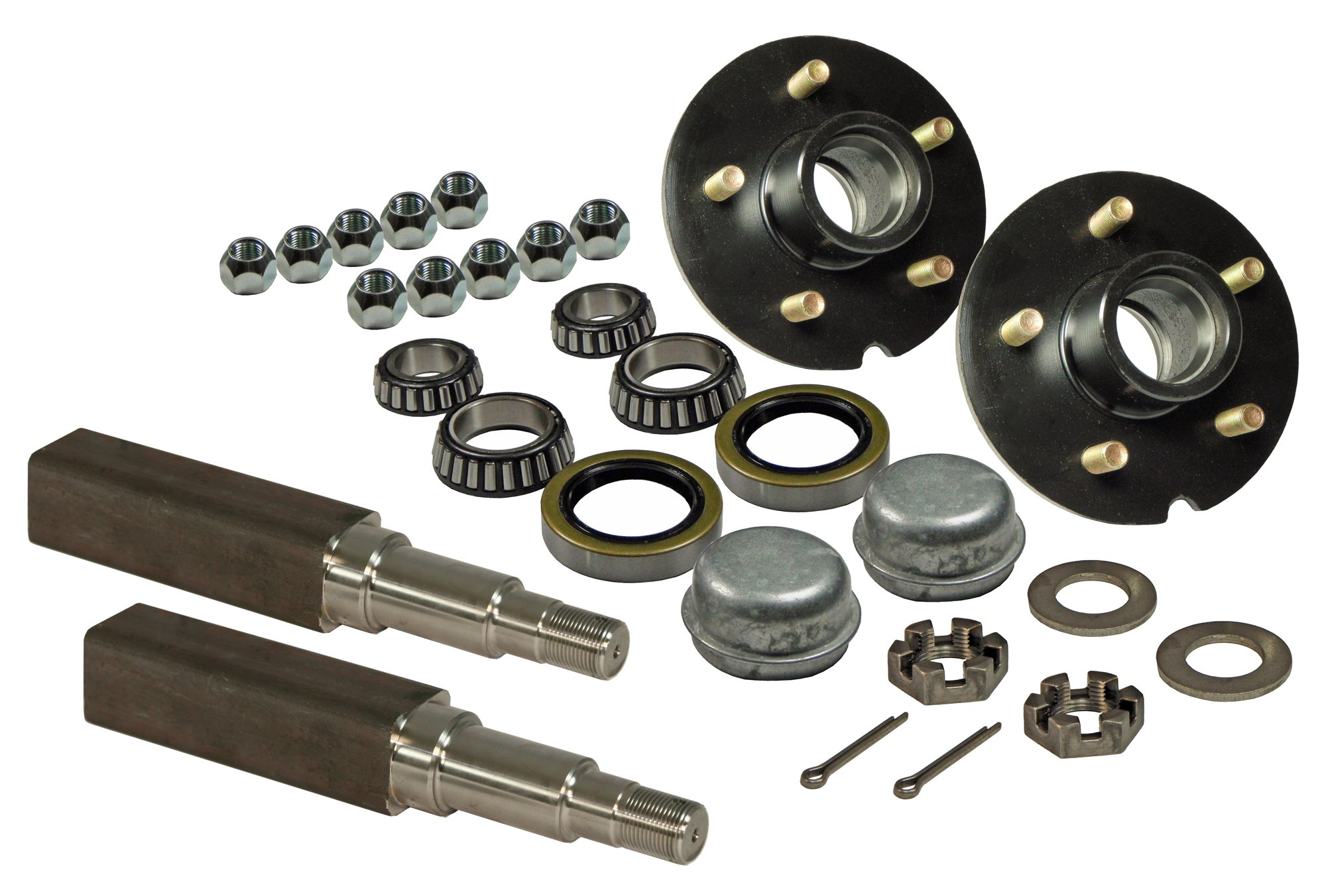 Rigid Hitch Pair of 5-Bolt on 5 Inch Hub Assembly (AKSQ-350055) Includes (2) Square Stock 1-3/8 Inch to 1-1/16 Inch Tapered Spindles & Bearings by Rigid Hitch