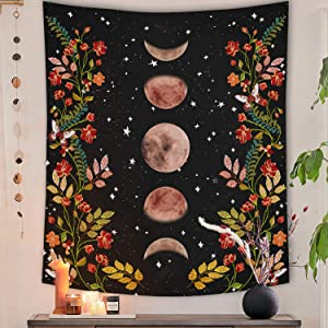 Lifeel Moonlit Garden Tapestry, Moon Phase Surrounded by Vines and Flowers Black Wall Decor Tapestry 50×60 inches
