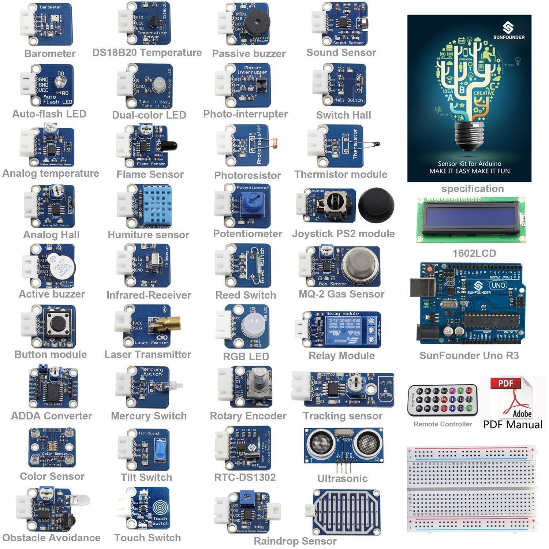 SunFounder ultimatives UNO R3 Sensor Kit V2.0 für Arduino UNO R3 Mega2560 Mega328 Nano