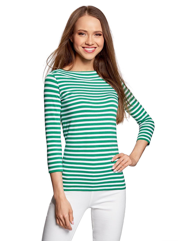 oodji Collection Damen T-Shirt mit 3/4-Arm RIFICZECH s.r.o. 24201010B