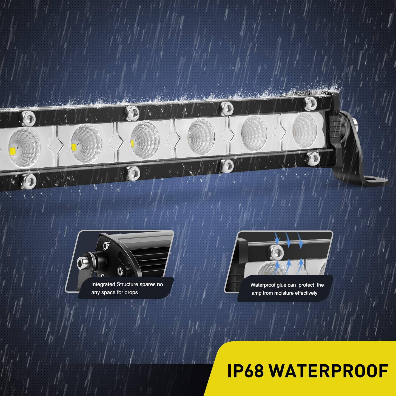 2 Years Warranty Nilight 2PCS 7Inch 18W Ultra-Slim Single Row Flood LED Light Bar 1530LM Fog Driving Work Light with 16AWG Wiring Harness Kit-2 Lead